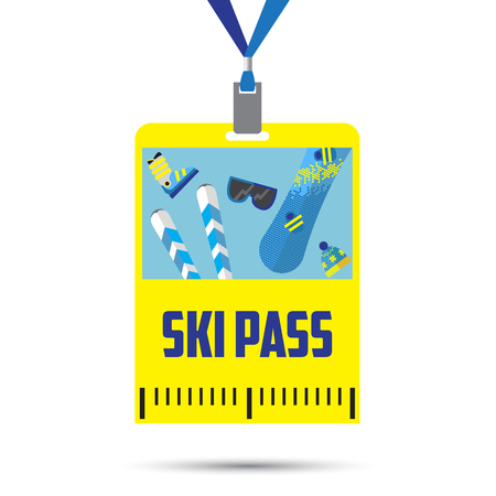 mountain pass: ski pass template with barcode.blue ribbon .equipment for winter holidays.flat design