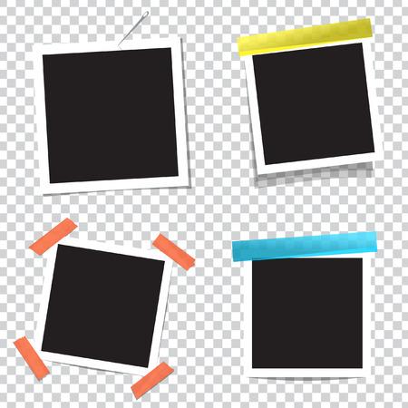 Realistic vector photo frame on sticky tape Illustration