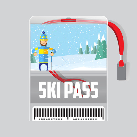 mountain pass: ski pass template with barcode in plastic holder with red ribbon.Man skiing in the forest