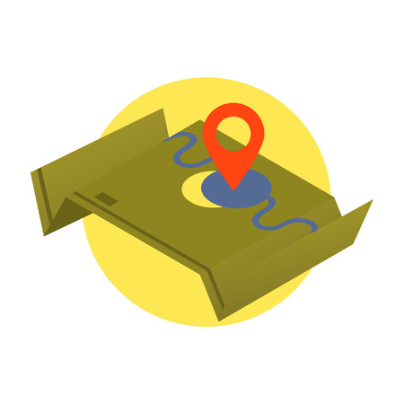 folded paper: Map icon flat design.