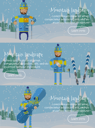 slope: Person skiing flat style web banners set. Illustration