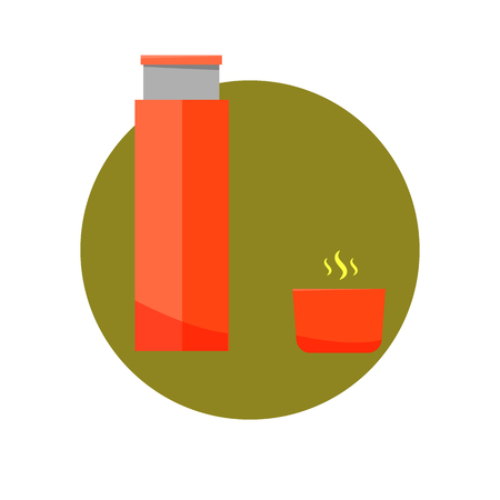 Vector illustration thermos icon flat design. Thermos for hot drink isolated on white background Stock Photo