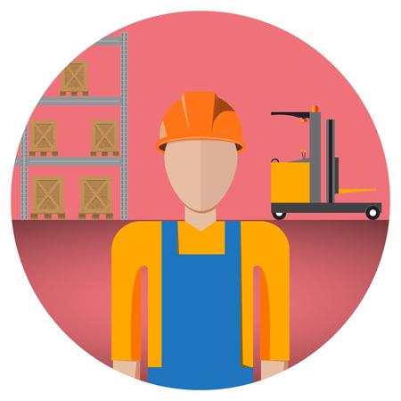 Worker in warehouse Ilustração