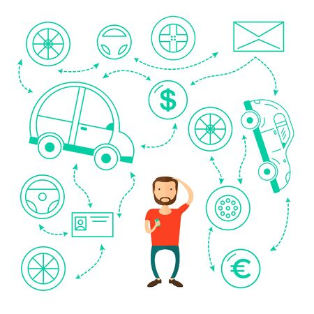 Business man with a beard thinking of choice. Decision concept. Vector flat design illustration.buys a car and can not choose Stock Photo
