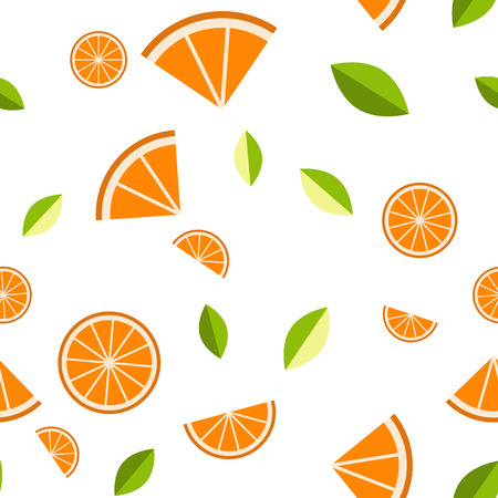 Orange, lemon on white background. Seamless pattern. Vector illustration. Illustration
