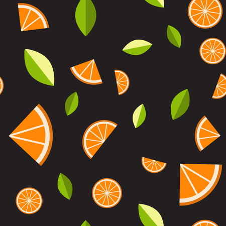 Orange, lemon on black background. Seamless pattern. Vector illustration.