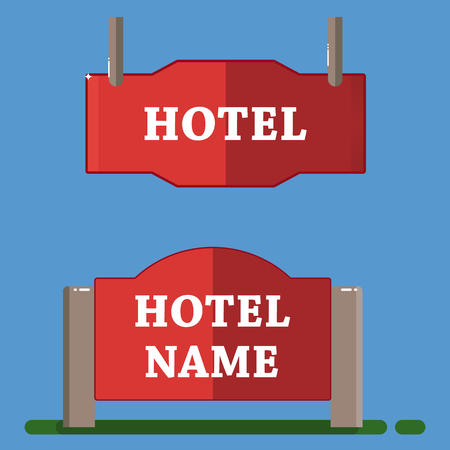 guest house: Red hotel label flat style