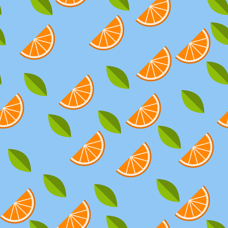 Orange, lemon on blue background. Seamless pattern. Vector illustration.