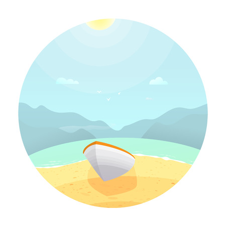 Boat on the beach.Colorful landscape with cloud Illustration
