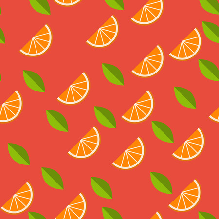 breezy: Orange, lemon on red background. Seamless pattern. Vector illustration. Illustration