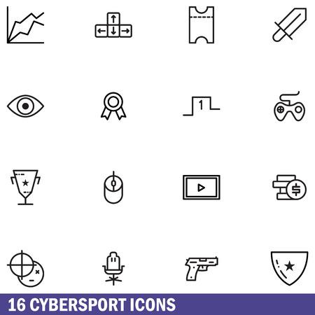 Line icons set of Cybersport gaming, online games. Modern outline pictogram collection. Ilustração