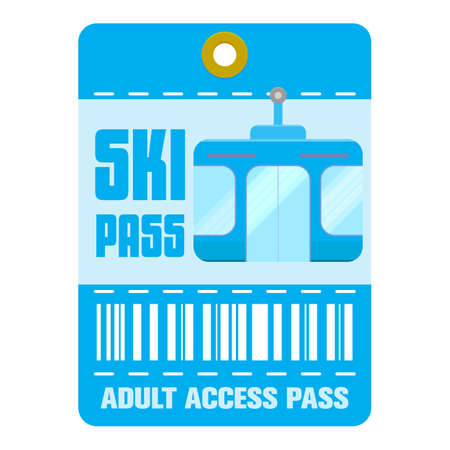 Ski pass icons set. Flat Ski pass template icons for web isolated on white background