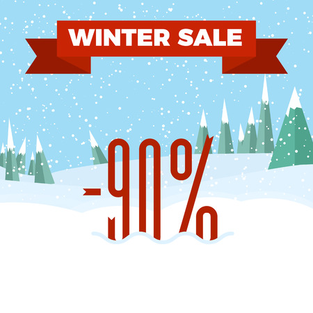Winter sale numbers on the beautiful Christmas landscape background with trees, snowflakes, falling snow. Illustration
