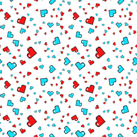 Seamless pattern with pixel hearts. Valentines day. Vector background.