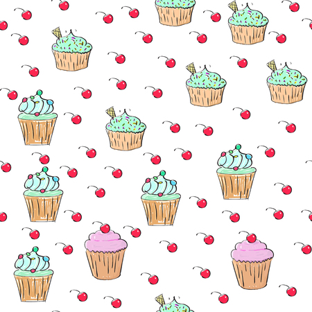 Cream cupcakes pattern illustration. Seamless print with pastry set. Vector bakery background.Hand draw style.