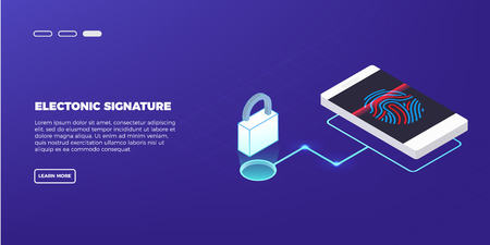 Scan Fingerprint on laptop. Identification system.Business security concept. Illustration of application scanning fingerprint. Vector illustration in isometric style