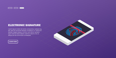 Mobile phone scanning a fingerprint. Concept of identification of the user on a fingerprint in the smartphone. Vector illustration. EPS 10.