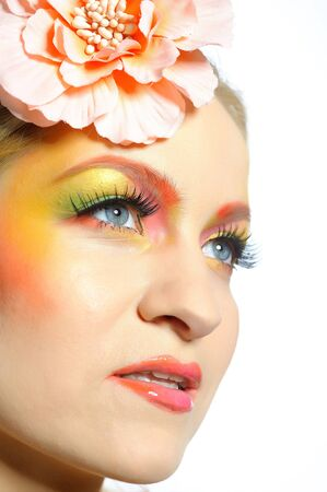Close-up portrait of summer fashion creative eye make-up in yellow and green tones Stock Photo - 6868498