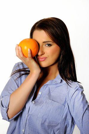 young beautiful woman with citrus orange fruit. isolated on white background Stock Photo - 6868501