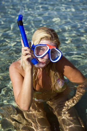 Young happy beautiful summer diving woman with swimming mask and snorkel preparing to dive in blue sea Stock Photo - 6959565