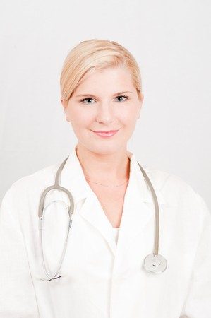 young female doctor with medical stethoscope Stock Photo - 6959569