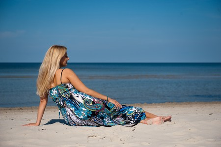young beautiful summer girl relaxing on the beach Stock Photo - 7016850