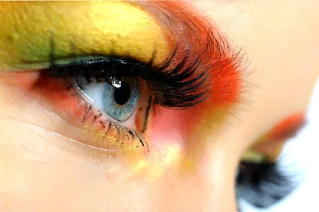 Close-up portrait of summer fashion creative eye make-up in yellow and green tones Stock Photo