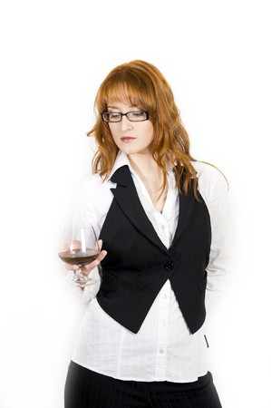 Beautiful business woman with whiskey glass Stock Photo - 7058476