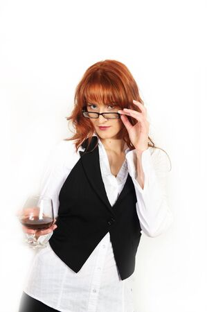Beautiful business woman with whiskey glass Stock Photo - 7058471
