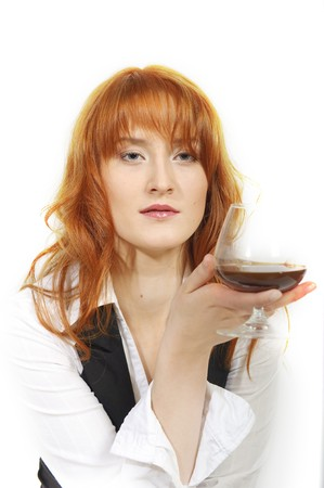 Beautiful business woman with whiskey glass Stock Photo - 7058522