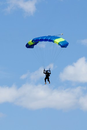 parachuting: Extreem sports. parachuting under a blue sky Stock Photo