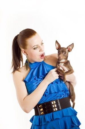 Young pretty beautiful woman holding little toy terrier dog. isolated on white background photo