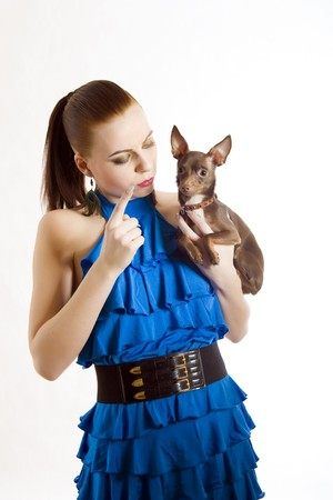 Young pretty beautiful woman holding little toy terrier dog. isolated on white background Stock Photo - 7089834