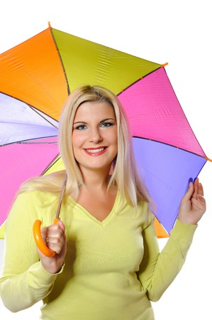 Portrait of pretty autumn woman standing under umbrella. white background photo