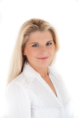 univercity: beautiful business woman smiling. white background