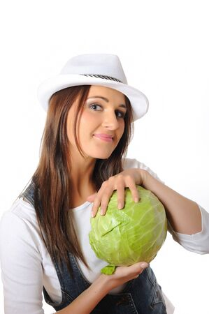 Young pretty woman with green beautiful cabbage . isolated on white background Stock Photo - 7417762