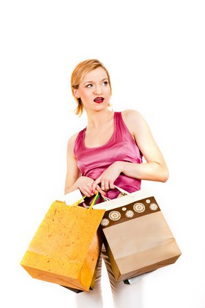 Beautiful shopping woman with lots of bags Stock Photo - 7471718
