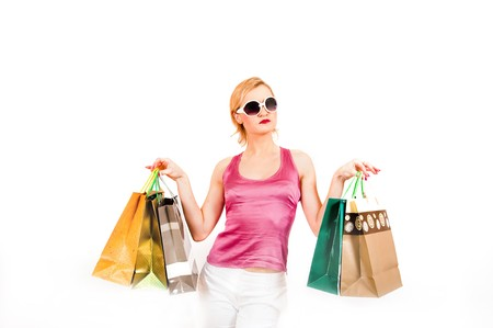 Beautiful shopping woman with lots of bags Stock Photo - 7471692