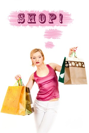 Young pretty shopping woman with lots of bags thinking. creative design photo