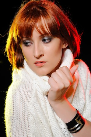 Beauty portrait of pretty woman with short fashion bob hairstyle. light effects photo