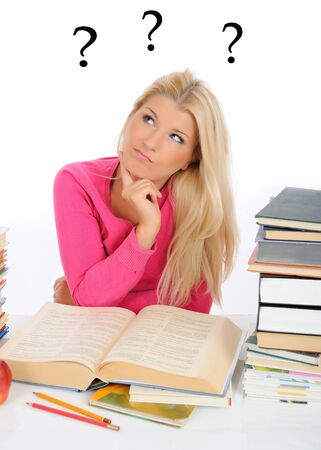 young pretty confused student girl with lots of books thinking. question marks on the background