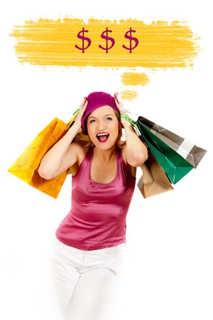 Young pretty shopping woman thinking about money. creative design photo