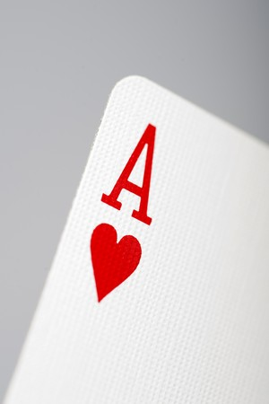 Macro picture of ace of hearts playing card photo