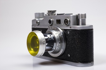 viewfinder vintage: part of old retro camera copy of leica. macro shot