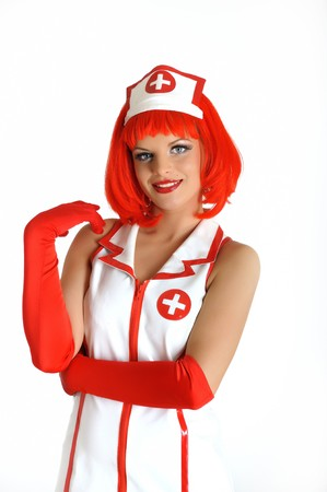 young beautiful sexy doctor in uniform and red hair Stock Photo - 7785735