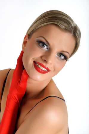 Young elegant beauty female face with red shiny lips and black eye makeup. colse-up. Stock Photo - 7785846