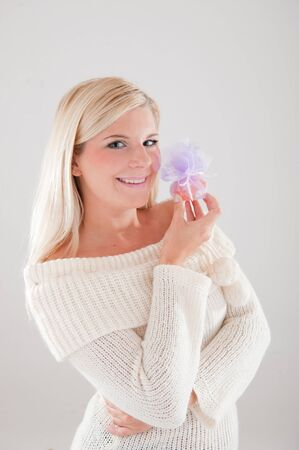 Portrait of beautiful smiling winter woman in knit clothes Stock Photo - 7785757