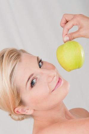 beautiful fresh spa woman with green apple Stock Photo - 7722449