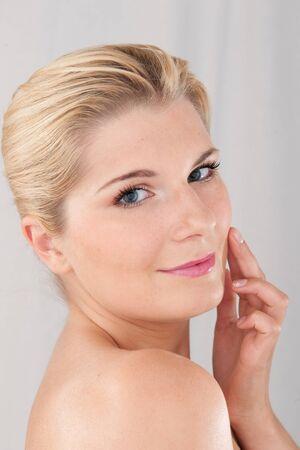 beautiful fresh spa woman with healthy pure skin photo