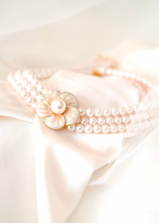 beautiful bridal necklace on pink background